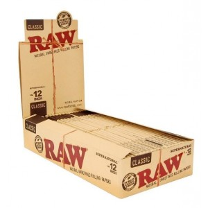 Classic Raw Natural Unrefined Rolling Papers - Supernatural 12 Inch - Natural Hemp Gum - Box Of 20