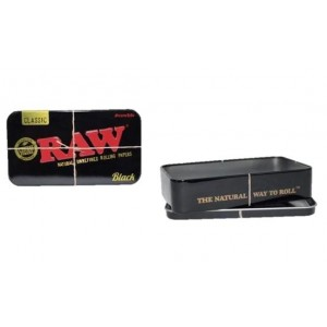 Raw Natural Unrefined Rolling Papers Printed Tobacco Storage Tin - Black