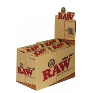 Raw Authentic Pre-Rolled Wide Tips - 21 Tips Per Packet - Box Of 20