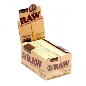 Raw Organic Hemp Natural Unrefined Hemp Rolling Papers + Tips - Connoisseur - Pack Of 24