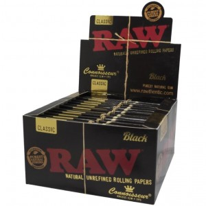 Raw Classic Natural Unrefined Rolling Papers - Connoisseur King Size Slim + Tips - Black - Pack Of 24