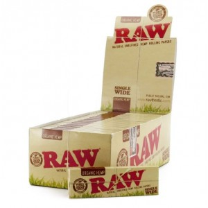 Raw Organic Hemp Natural Unrefined Hemp Rolling Papers - Single Wide - Pack Of 50