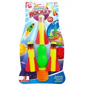 Boppet Rocket Toy with Launcher & 3 Rockets - 32 x 18cm - Assorted Colours - For Kids 5+ Years