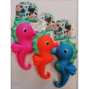 Pet Touch Squeaky Sea Horse Doggy Play Toy - 21cm x 12cm - Assorted Colours