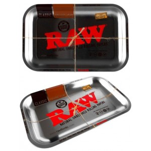 Small Raw Silver Metal Classic Authentic Rolling Tray - 17.5Cm X 27.5Cm
