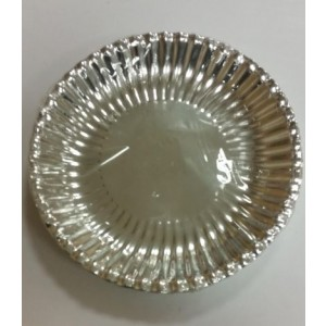 Trimmed Edge Silver Coloured Disposable Paper Plates - Pack Of 12