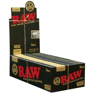 Raw Classic Natural Unrefined Rolling Papers - Single Wide - Black - Pack Of 50