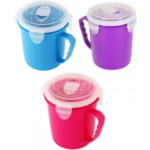 Microwavable Soup Mug with Snap Lock Lid - 600ml - Assorted Colours