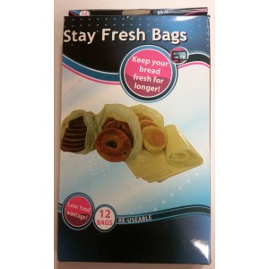 Stay Fresh Re Useable Grip Seal Food Bags For Bread - 65cm x 26cm - Pack Of 12