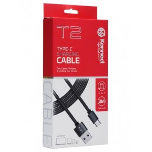 Konnect High Performance T2 Quick Speed Type-C Charging Cable for Samsung/Huawei - Black - 2m