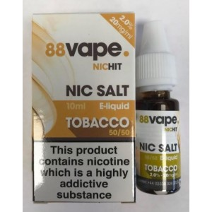 88 Vape Nic Hit E Liquid with Nic Salt - Tobacco - 50/50 Pg/Vg - 20Mg -10Ml