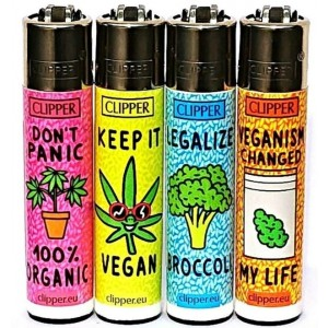 Clipper Classic Large Reusable Lighters - Vegan Quotes - Assorted Colours & Designs