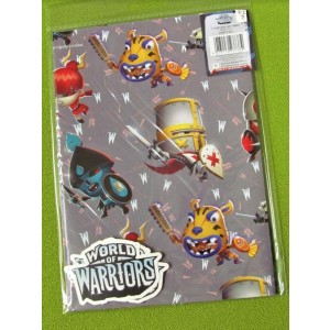 World of Warriors Gift Wrapping Papers & Tags - Pack of 2 - 50cm X 69.5cm - Price Marked £1
