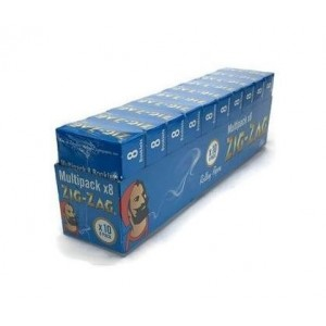 Zig Zag Finest Quality Rolling Papers Multi Pack - 8 Booklets - Blue
