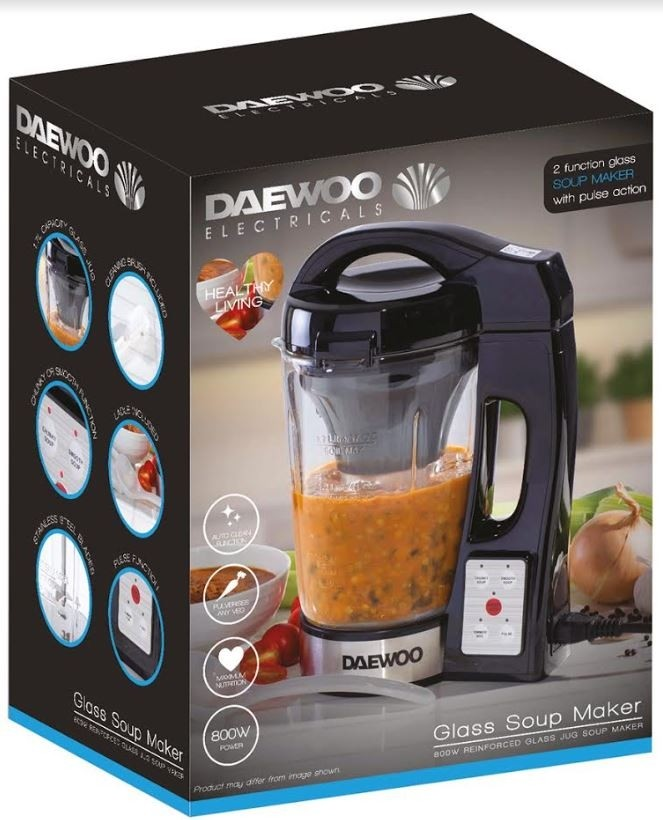 Daewoo Electricals 1 7L Glass Soup Maker with Pulse Action - 34 5 x 27 5 x  20cm