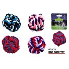 Plated Dog Rope Toy Ball - Colours May Vary