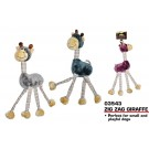 Pets That Play Crackle / Squeaky Zig Zag Giraffe Dog Toy - For Medium / Large Dogs - Assorted Colours