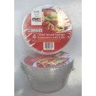 Max Disposable Round Food Storage Containers with Lids - 750ml - 15 x 6.5cm - Pack of 4