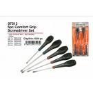 JAK Comfort Grip Screw Driver Set - Pack of 5 - Assorted Size and Shape