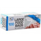 Tidyz Very Strong Large Food Bags with Tie Handles - Pack of 100 - 40 x 26cm