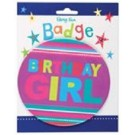 Large Happy Birthday Girl Badge