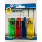 CK Everyday Electronic Refillable Lighters - Clear - Assorted Colours - Pack of 4