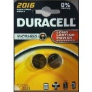 Duracell DL2016/CR2016/KCR2016 3V Lithium Button Battery - Pack Of 2