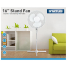 """16"""" Oscillating Pedestal Fan With 3 Speed Settings - White"""