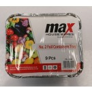 Max House Wares No. 2 Foil Containers Tray - 14 x 12 x 5cm - Pack of 9