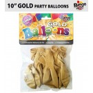 """Bingo Traditional Large Latex Balloons - 10"""" - Pack of 16 - Gold"""