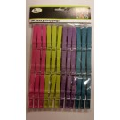 Heavy Duty Plastic Washing Pegs - Assorted Colours - Pack Of 36