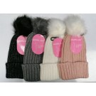 Warm Land Knitted Ladies Hat with Pompom - Assorted Colours - One Size