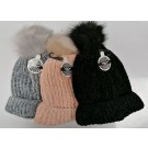Warm Land Ladies Hat with Pompom- Assorted Colours - One Size