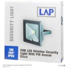 LAP COB LED Slimline Security Light with PIR Sensor - Black - 5m - 100°