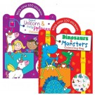 MAGICAL UNICORN & PRETTY PRINCESS/DINOSAURS & MONSTERS COLOURING BAG - WITH OVER 100 STICKERS