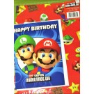 Super Mario Bros Gift Wrapping Paper, Card & Tag - 50cm X 70cm