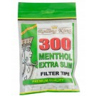 Rolling King Premium Quality Extra Slim Filter Tips - Menthol - Pack of 300 Filter Tips