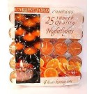 Carlingford Superb Quality Night Light Candles - Orange - Pack of 25