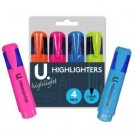 U Highlighters - Chisel Tip - Assorted Colours - Pack of 4