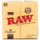 Raw Connoisseur Classic Natural Unrefined Rolling Papers King Size Slim & Tips - Box Of 24