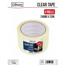 Gibsons High Strength Adhesive Clear Tape for Domestic & Commercial Use - 24mm x 25m - Pack of 4