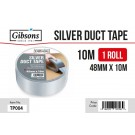 Gibsons High Strength Adhesive Silver Duct Tape for Domestic & Commercial Use - 48mm x 10m