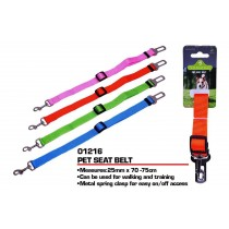 Pets That Play Pet Seat Belt with Metal Spring Clasp - 25mm x 75cm - Green/Blue/Pink/Orange