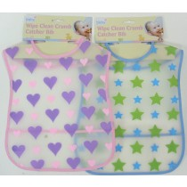 WIPE CLEAN CRUMB CATCHER BIB - 2 ASSORTED DESIGNS AND COLOURS