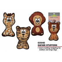 Pets That Play Squeaky Safari Stuffers Dog Toy - For Medium / Large Dogs - Assorted Shapes