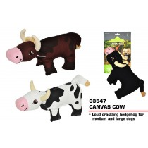 Pets That Play Squeaky Canvas Cow Dog Toy - For Medium / Large Dogs - Assorted Shapes