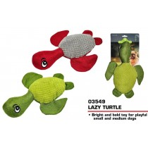 Pets That Play Fetch & Retrieve Squeaky Lazy Turtle Dog Toy - For Medium / Large Dogs - Assorted Colours