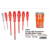JAK 6 Piece VDE Screwdriver Set with Mains Tester