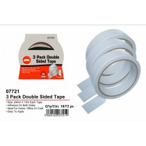 JAK Adhesive Double Sided Tape - 24mm x 10m - Pack of 3