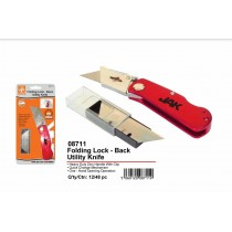 JAK Folding Lock - Back Utility Knife with 6 Blades - Assorted Colours